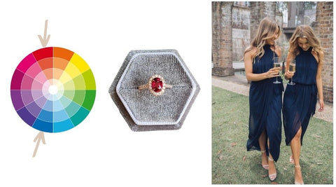 colour wheel, ruby ring, blue cocktail dress, ruby outfit pairings