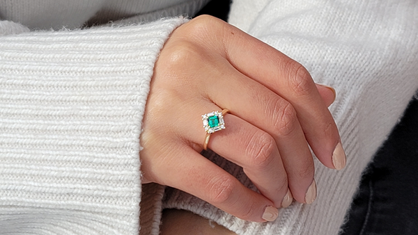 Gorgeous emerald ring handcrafted with ethically sourced green emeralds set in gold