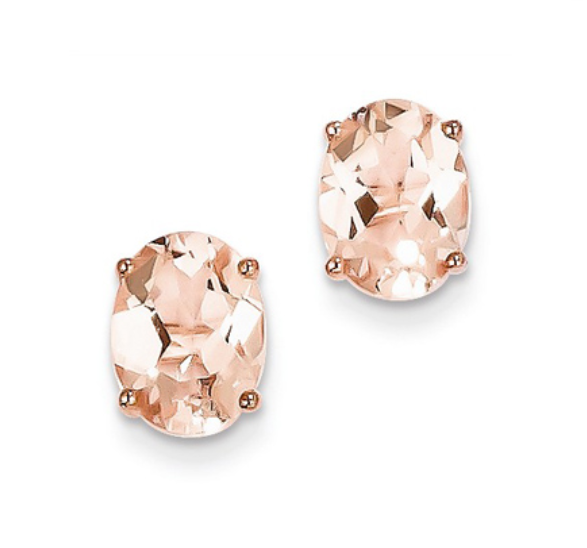 Morganite - oval studs - Al Joher