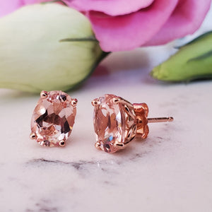 Morganite Oval Studs - Al Joher