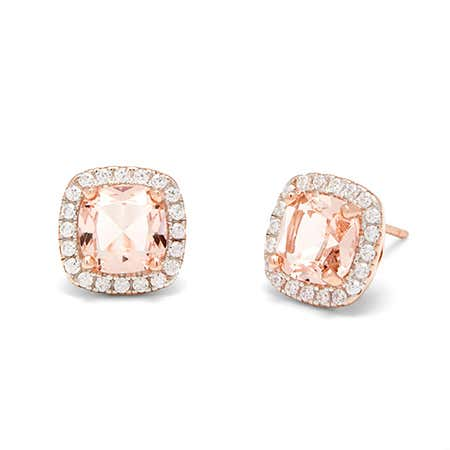 Cushion shaped Morganite & Diamond Halo Studs