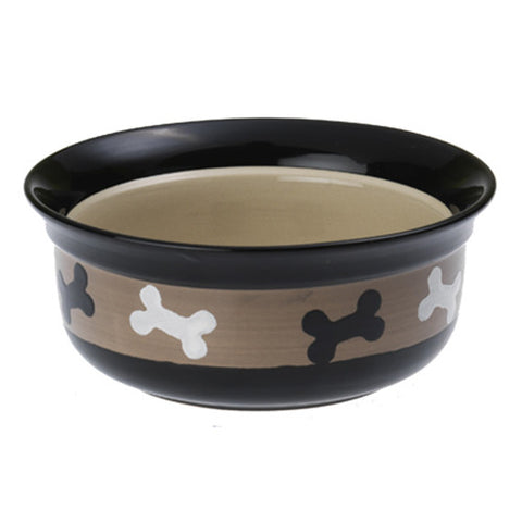 PetRageous - PetRageous Bowls 4 Cups / Bone Print / Black/Brown - Pet Cuisine & Accessories - 1