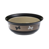 PetRageous - PetRageous Bowls 2 Cups / Bone Print / Black/Brown - Pet Cuisine & Accessories - 2