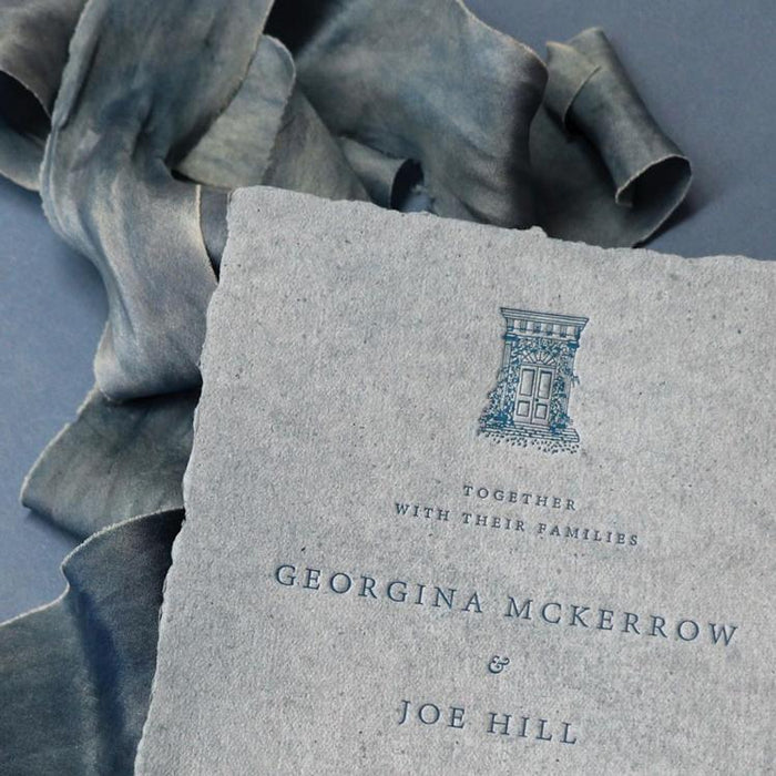 Beautiful Letterpress on Handmade Recycled Paper - Feathers and Stone
