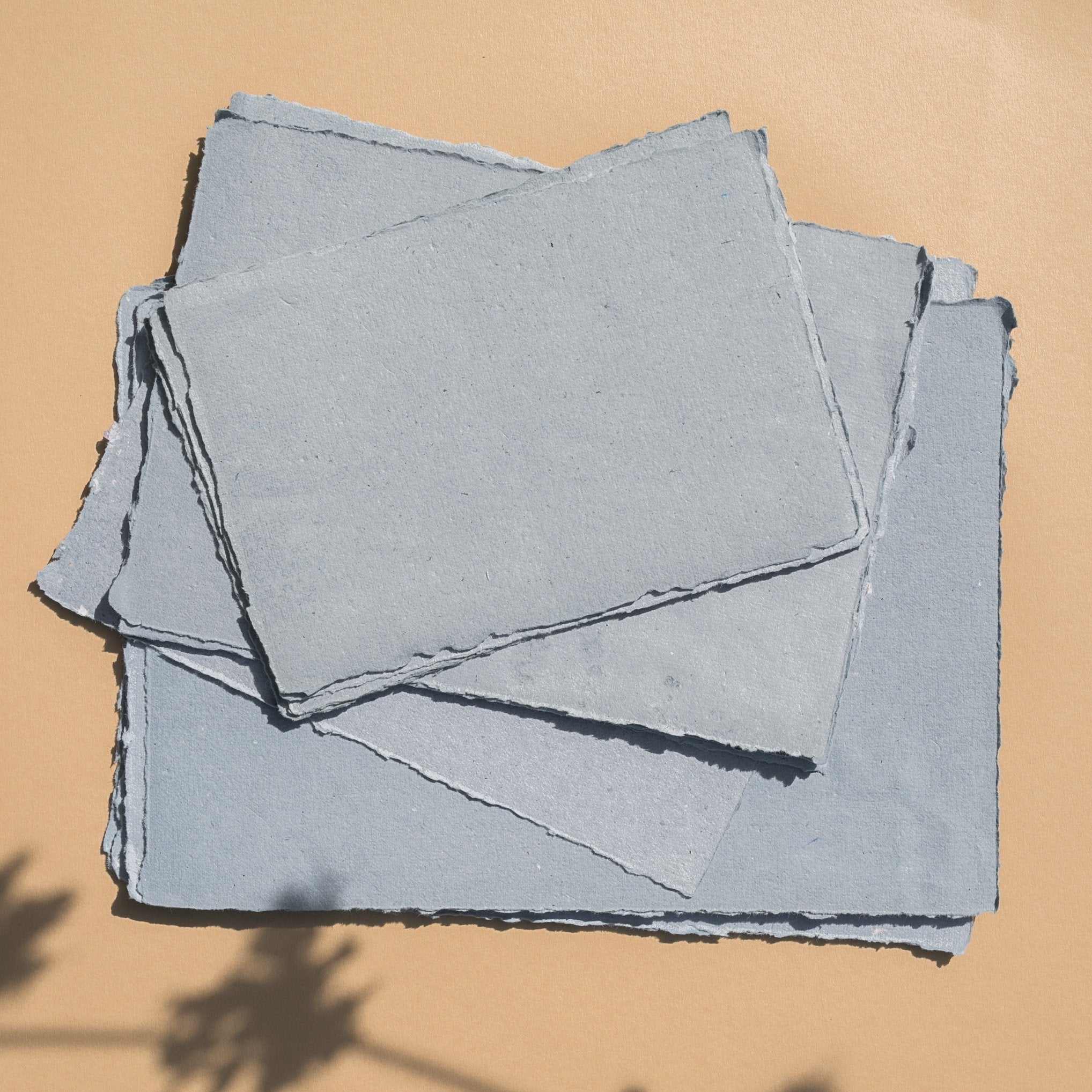 Dusty Blue handmade recycled paper - Feathers and Stone