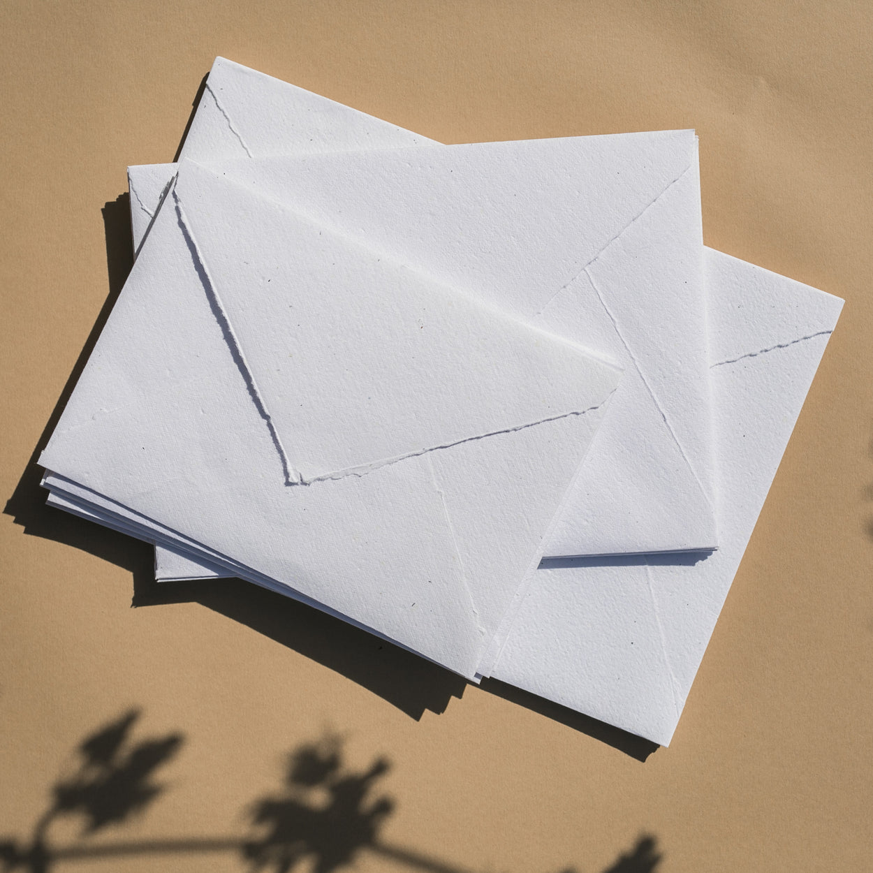 WHITE Recycled ENVELOPES - (Deckled or Cut Edge)