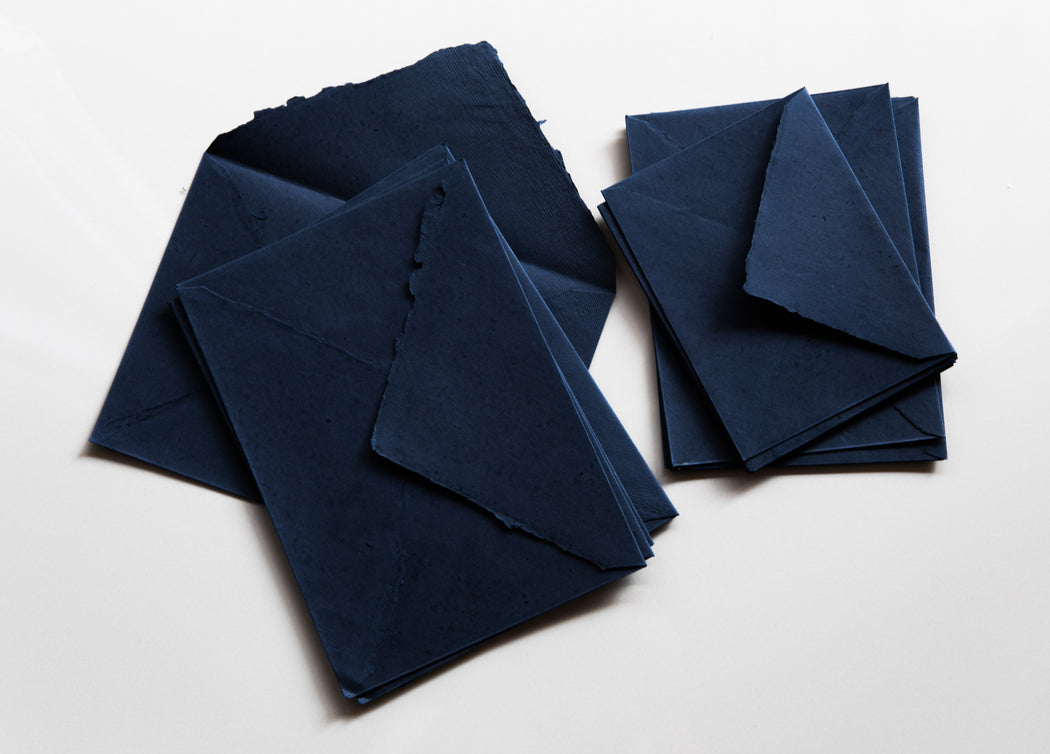 Indigo Deckle Edge POINTY FLAP Hand made paper ENVELOPES