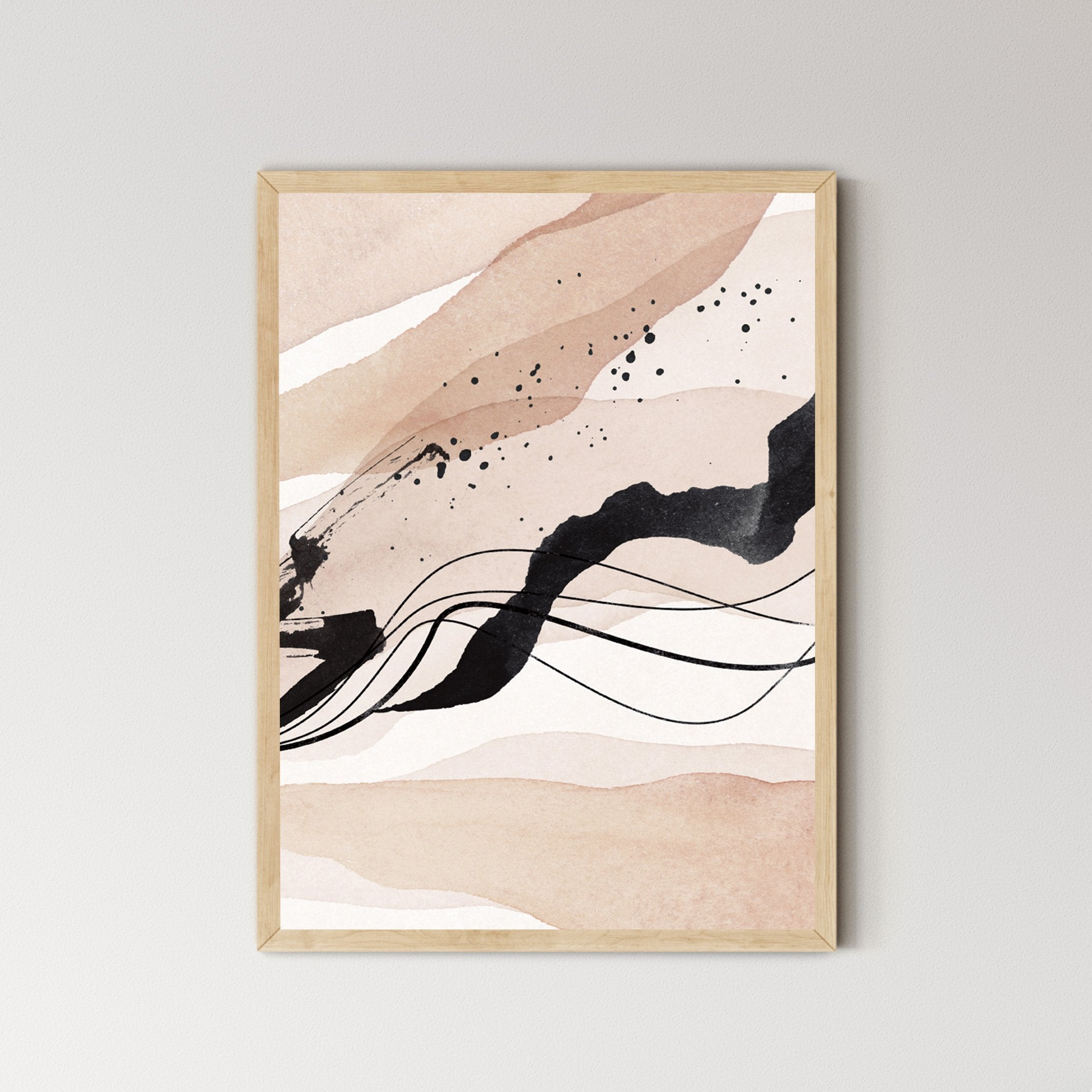 Dusty blush and earthy Abstract Landscape Art Print No.3 - Feathers and Stone