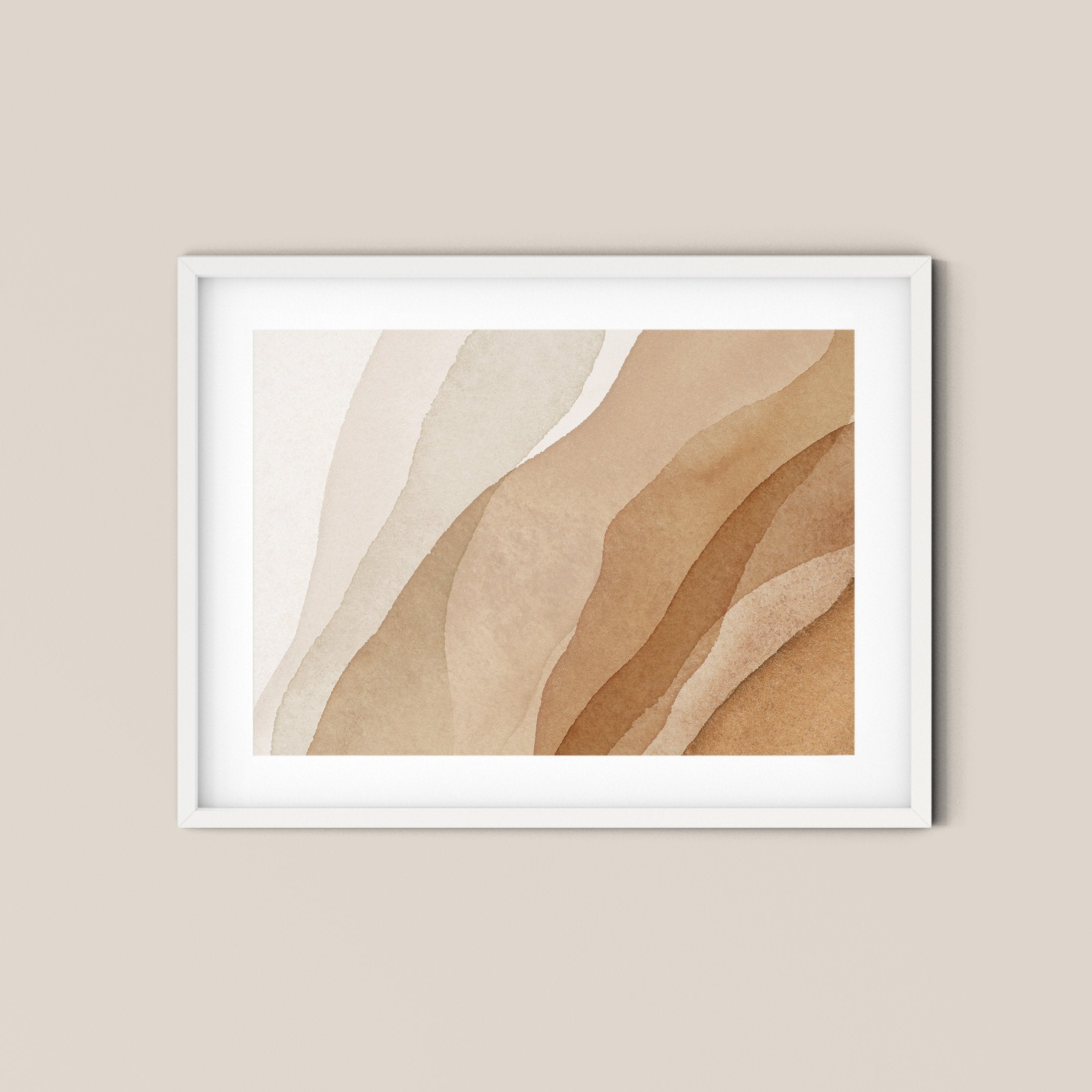 Golden Earthy Abstract Landscape Art Print No.4 - Feathers and Stone