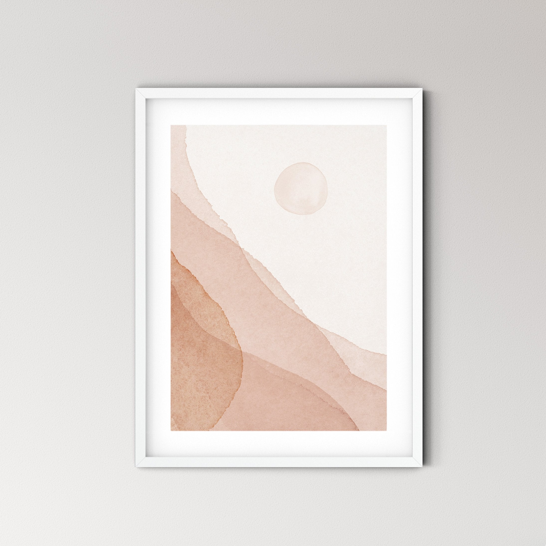 Dusty Blush Abstract Landscape Art Print No.7 - Feathers and Stone