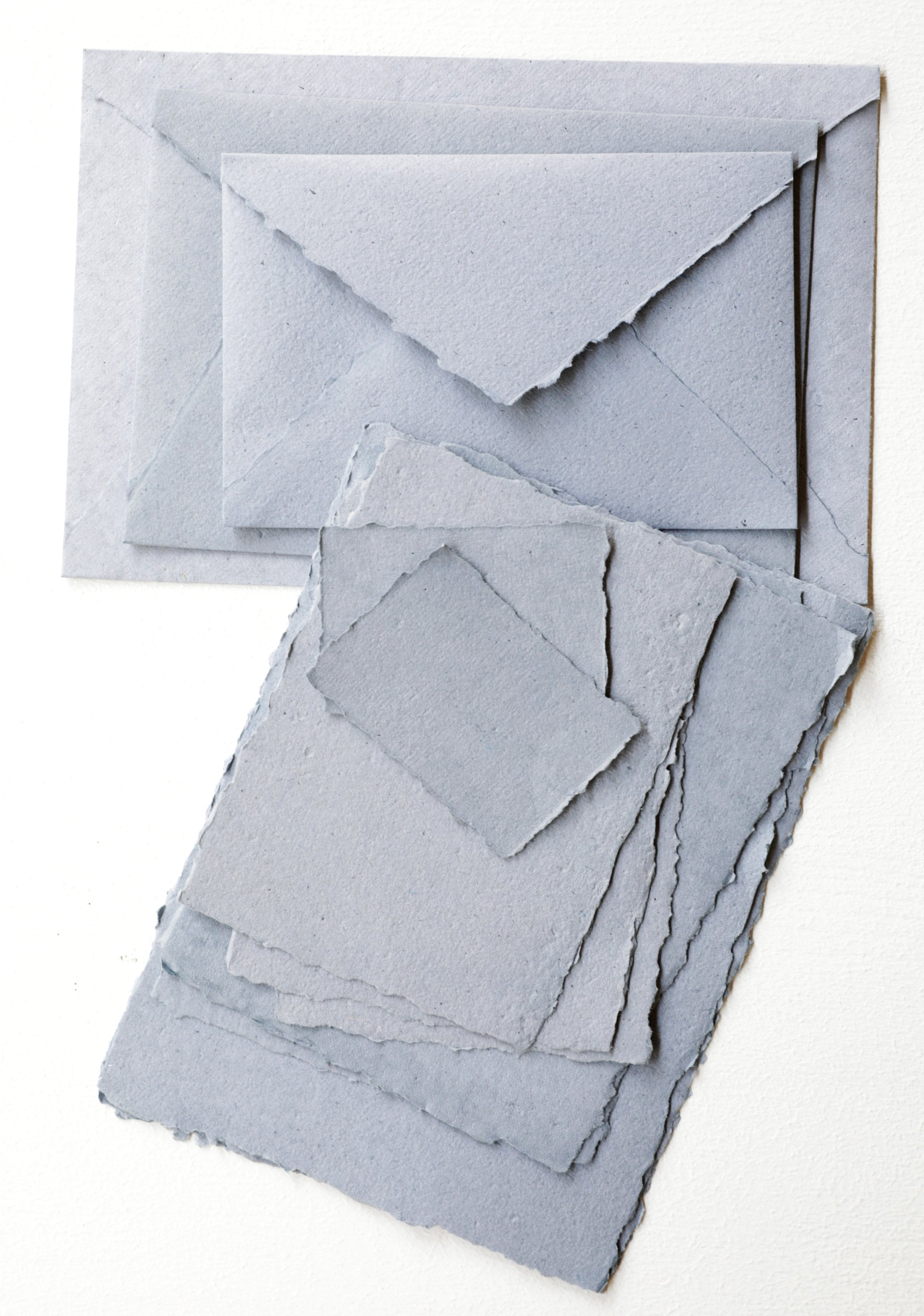 Dusty Blue Handmade Recycled Envelopes - (Deckle Edge or Cut Edge) - Feathers and Stone
