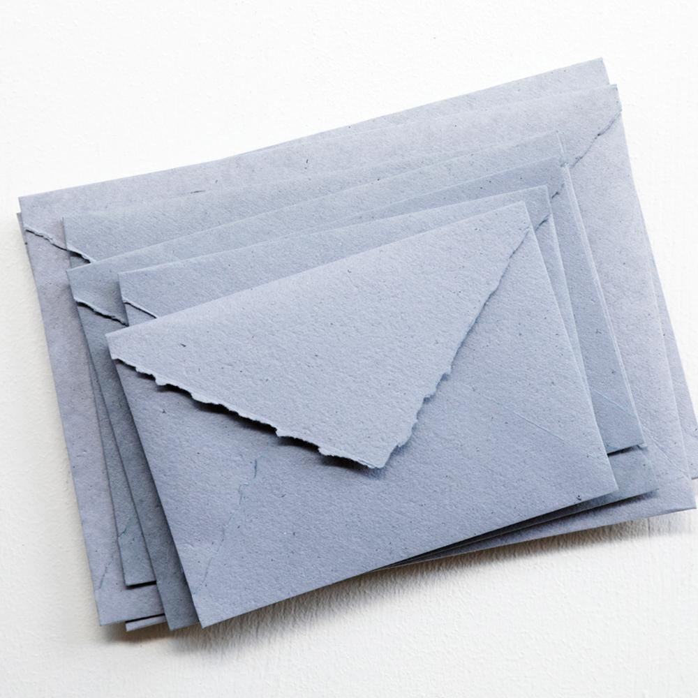 Dusty Blue Handmade Recycled Envelopes - (Deckle Edge or Straight Edge)