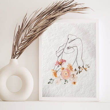 Female line art and Flowers Print No.1 - Feathers and Stone