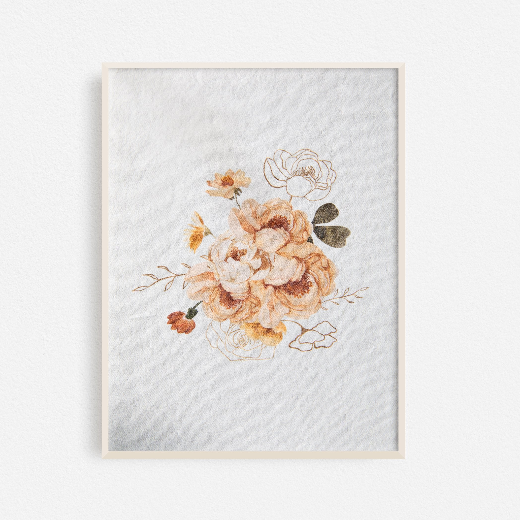 Autumn Flowers Bouquet Art Print No.1 - Feathers and Stone