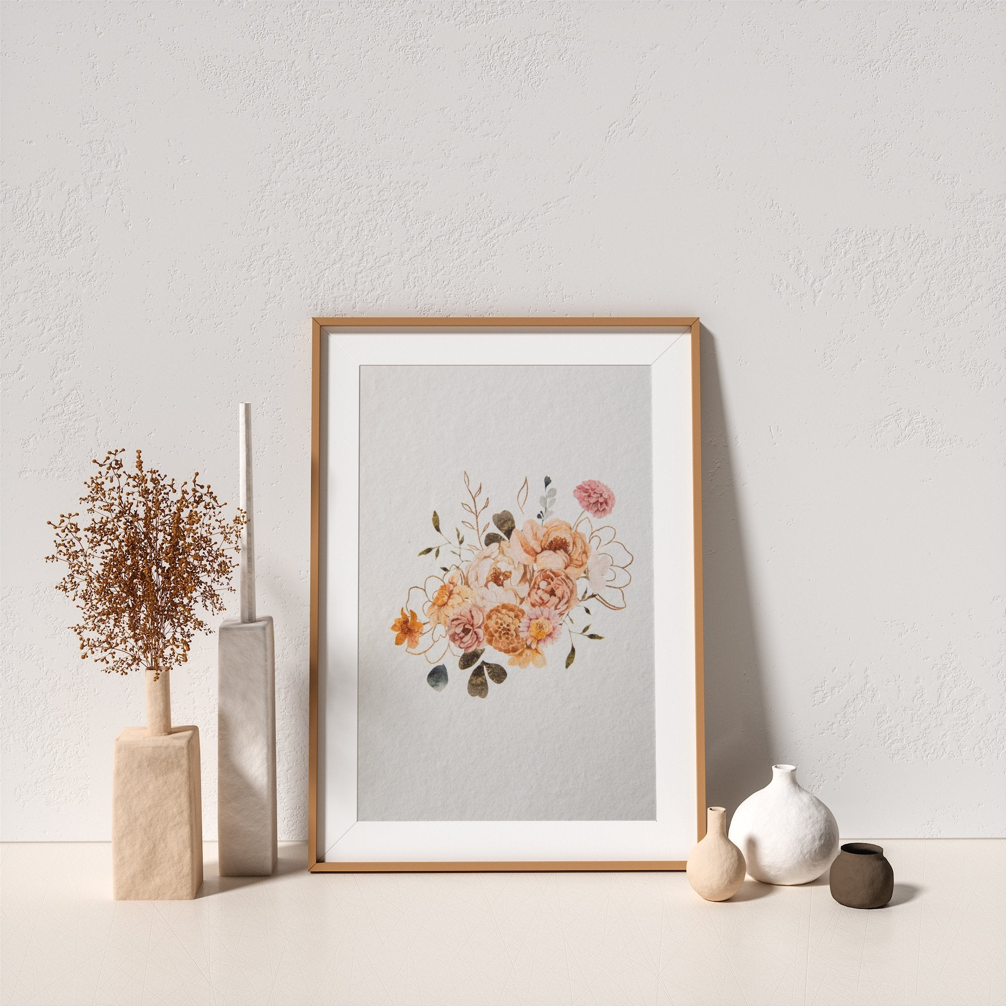 Autumn Flowers Bouquet Art Print No.2 - Feathers and Stone