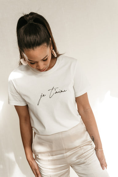 JE T'AIME Organic Cotton T-shirt - Feathers and Stone