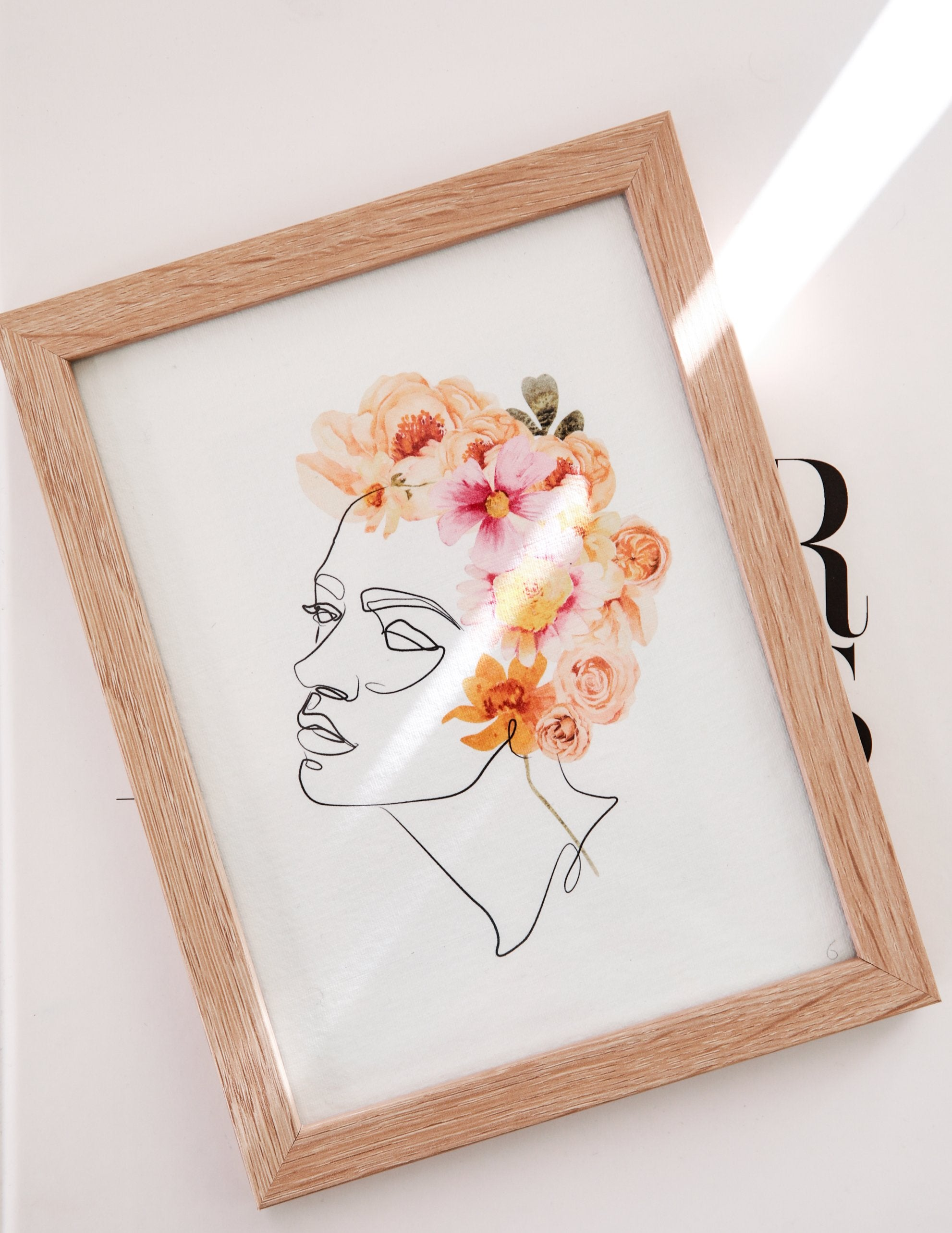 Female Portrait line art and Floral Wreath - Feathers and Stone