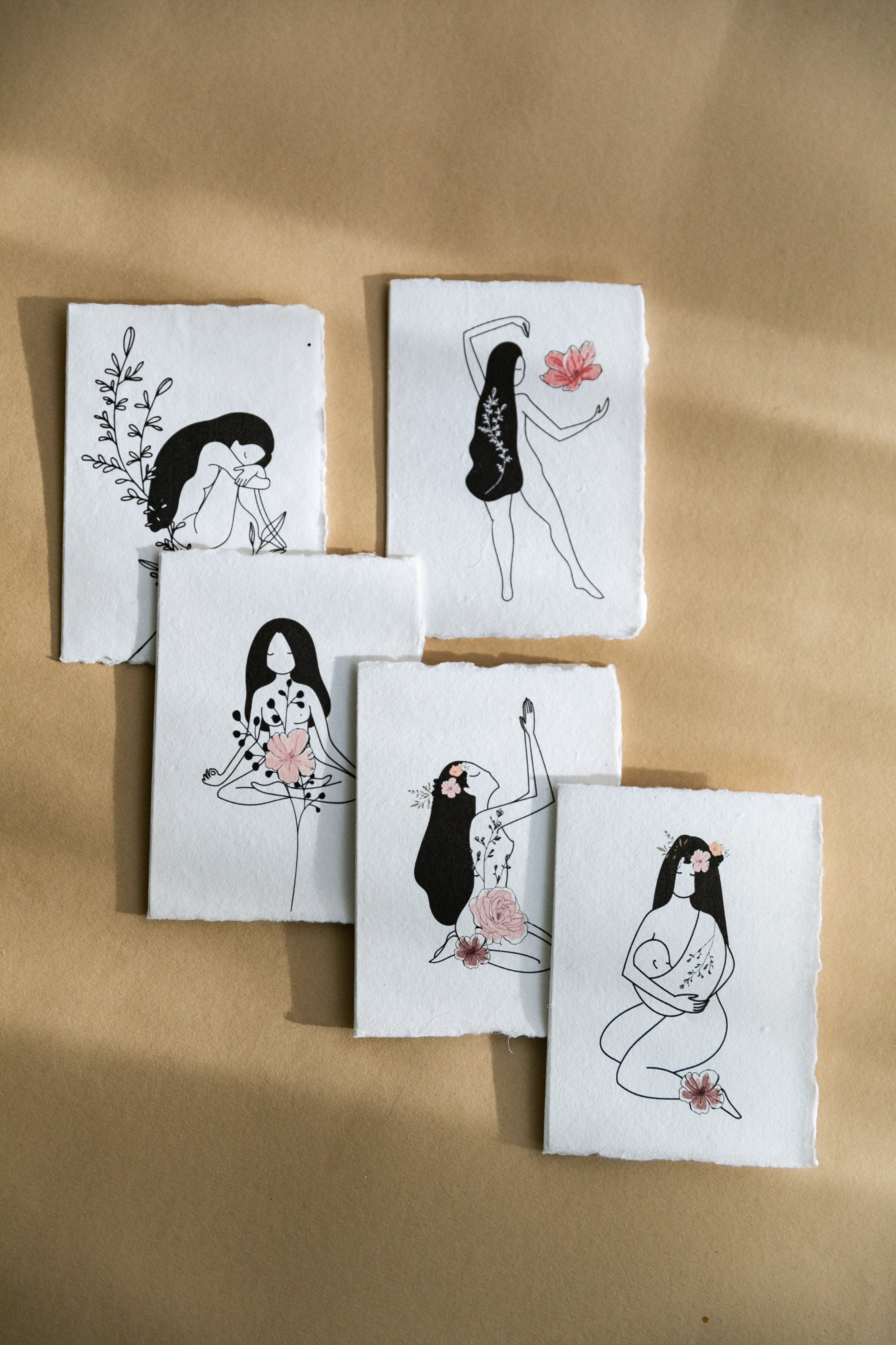 Nature Goddess Gift Cards on Handmade Cotton Rag Paper - Feathers and Stone