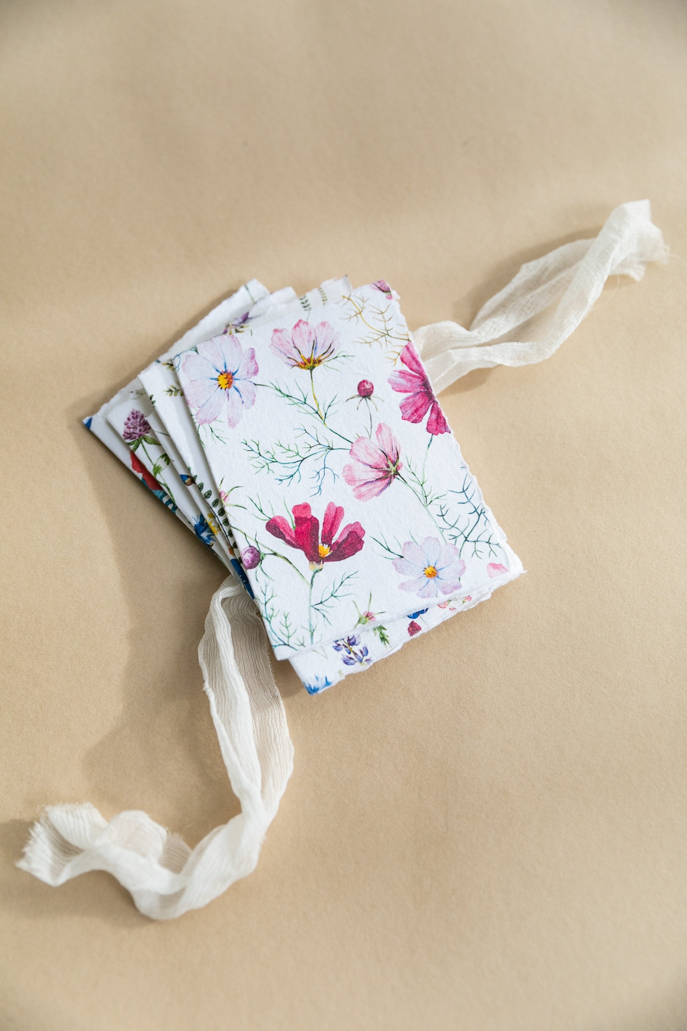 Floral Gift Cards on Handmade Cotton Rag Paper