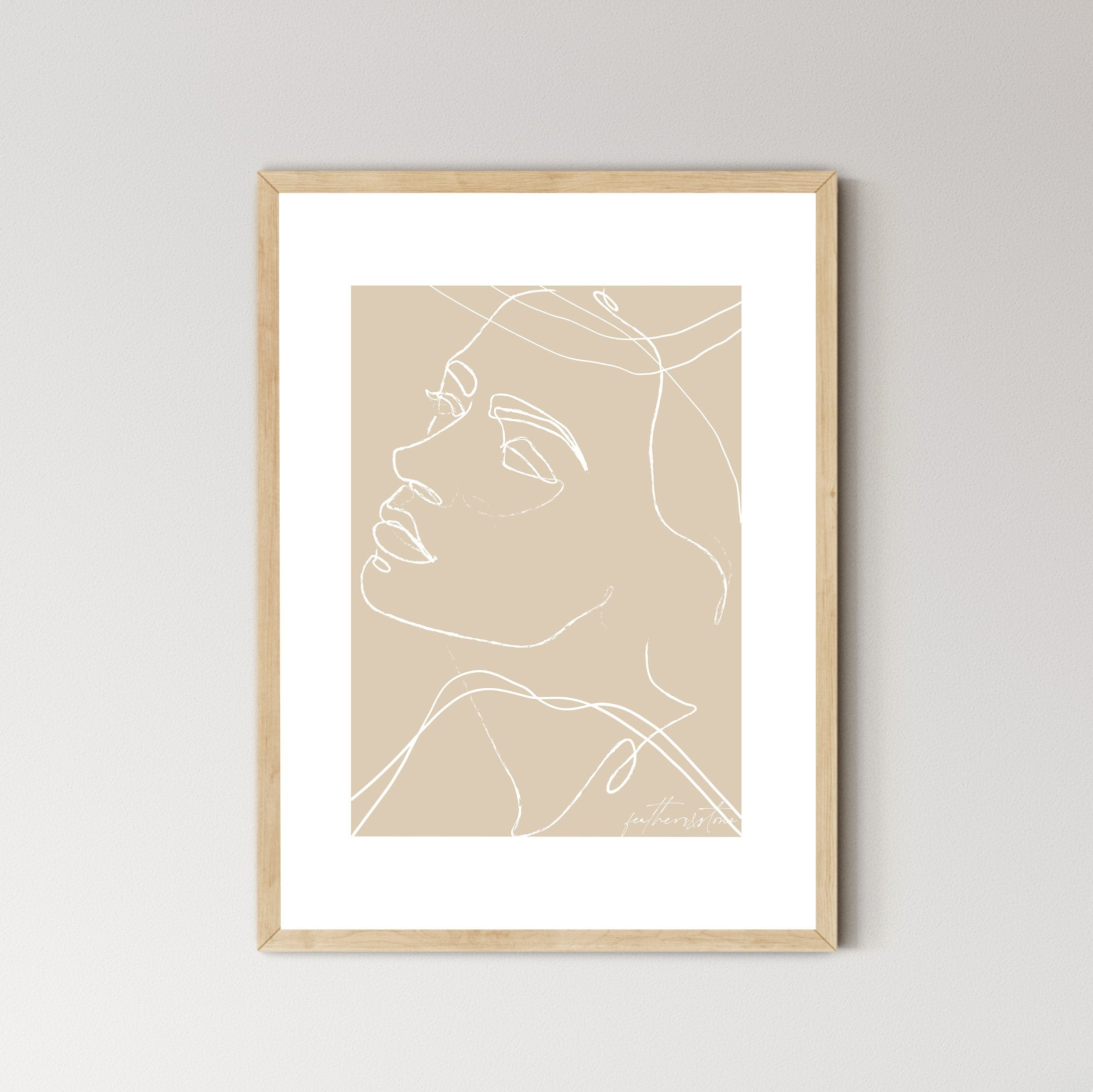 ROMI • Abstract Female Face Line Art Print - Feathers and Stone