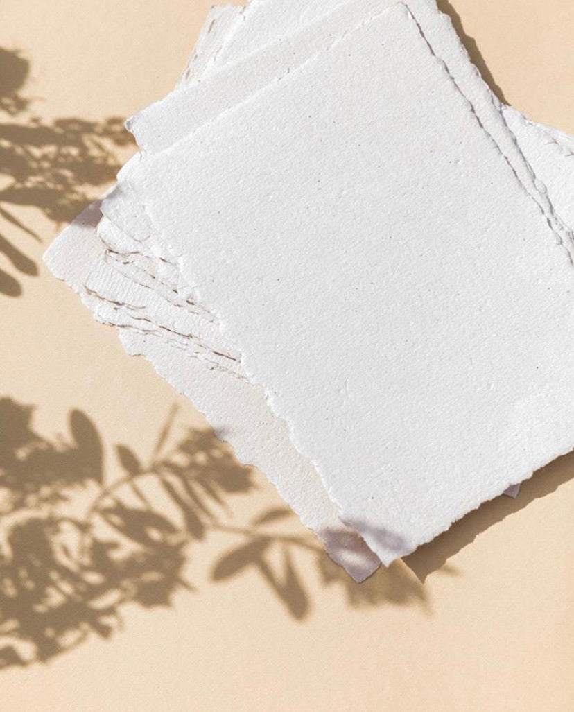 White deckle edge Handmade RECYCLED Paper