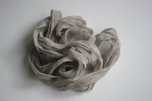 Silk Ribbon | Crinkled GREY Crepe | Plant based, hand dyed silk ribbons, wedding ribbon, floral ribbon, stationery ribbon, 100% silk