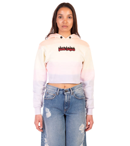 BURNING RAINBOW CROP HOODY