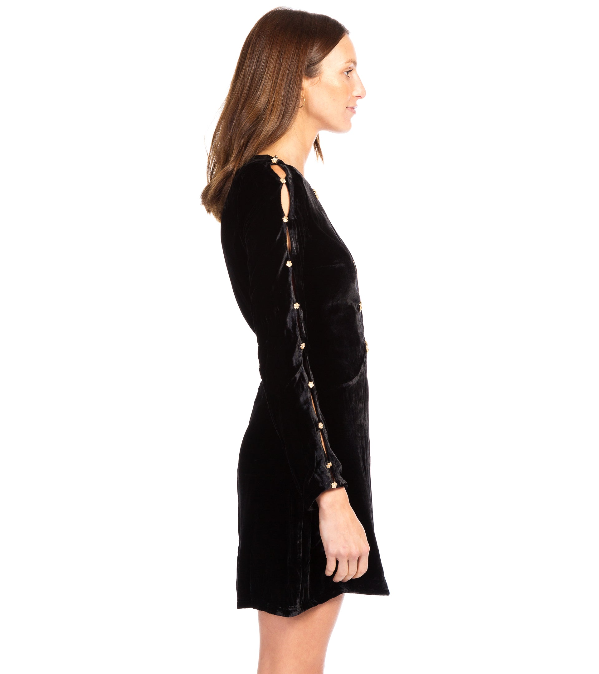 BEATRIX VELVET BUTTON SLEEVE DRESS