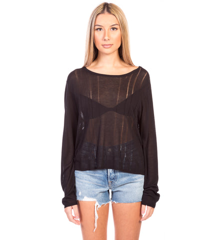 DESTROYED COTTON ROLL NK SWEATER