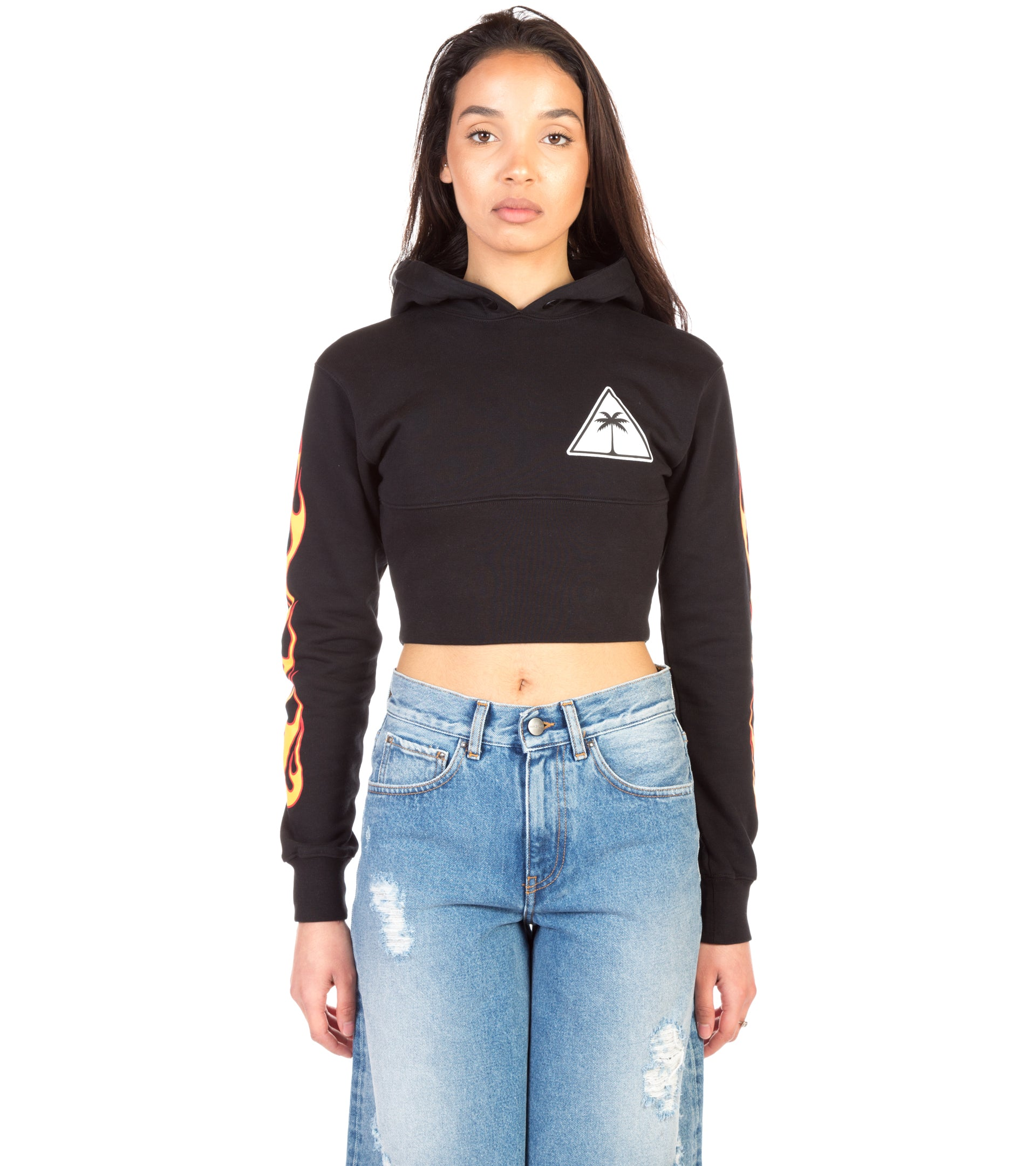 PALMS AND FLAMES CROPPED HOODIE