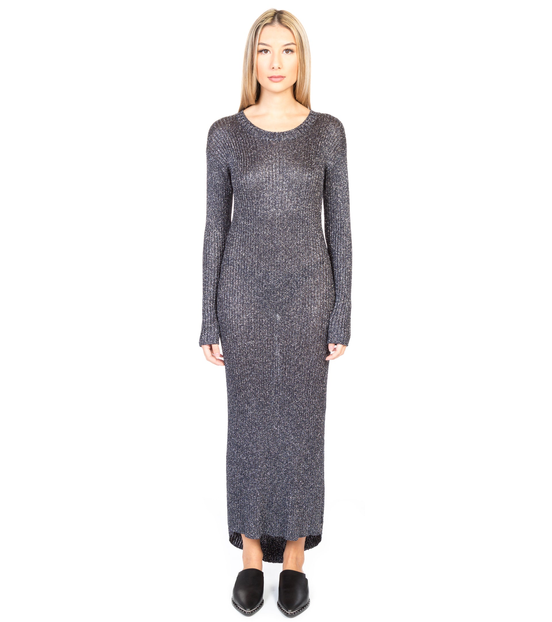 SUPERIOR FAME METALLIC KNIT DRESS