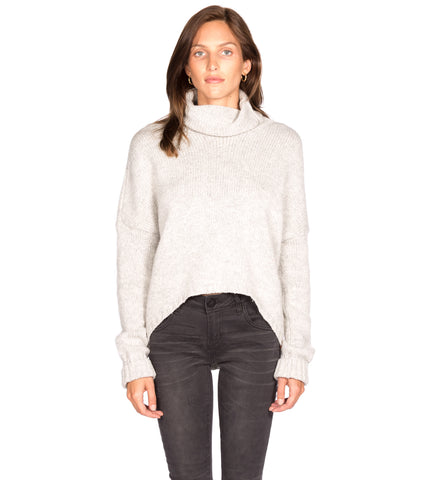 GREY POINTELLE CABLE SWEATER