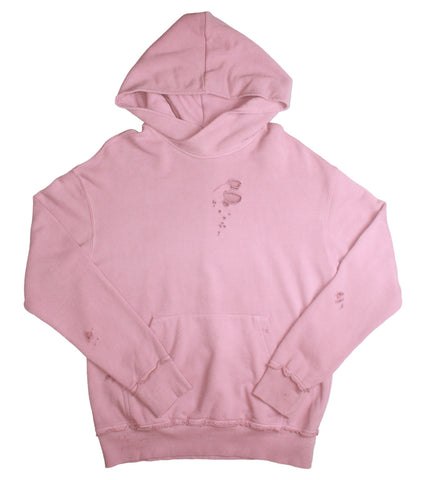 NID DE GUEPES - DISTRESSED PINK HOODIE - COMMON  - 1