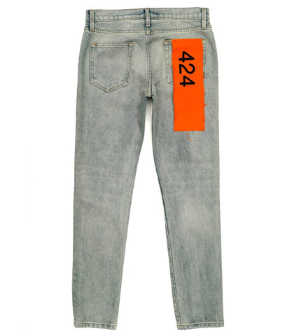424 - Denim Pant w/ Orange 424 Flag