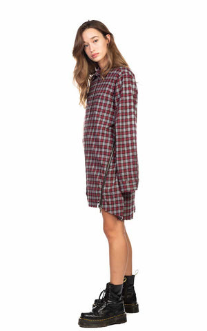 UPSIZED CHECK ZIP UP SHIRT