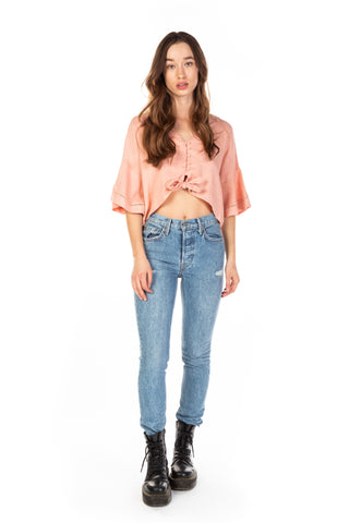 SLVLESS GATHERED WAIST TOP