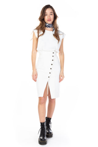 ASYMETRICAL BUTTON PENCIL SKIRT