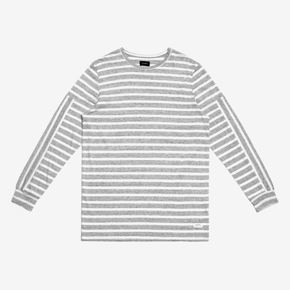 Stampd - Heather Strip L/S Tee Heather Grey - COMMON  - 1
