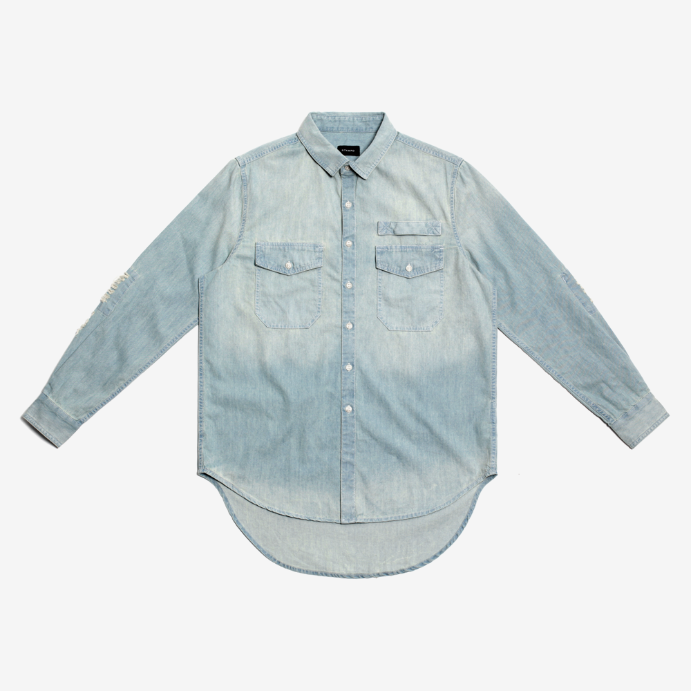 Stampd - Repaired Denim Shirt Indigo - COMMON  - 1