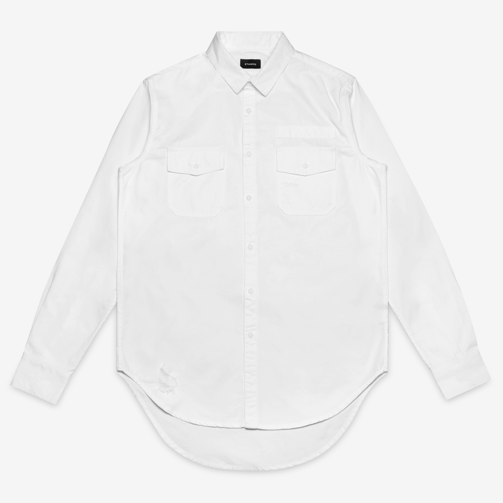 Stampd - Repaired Denim Shirt Off White - COMMON  - 1