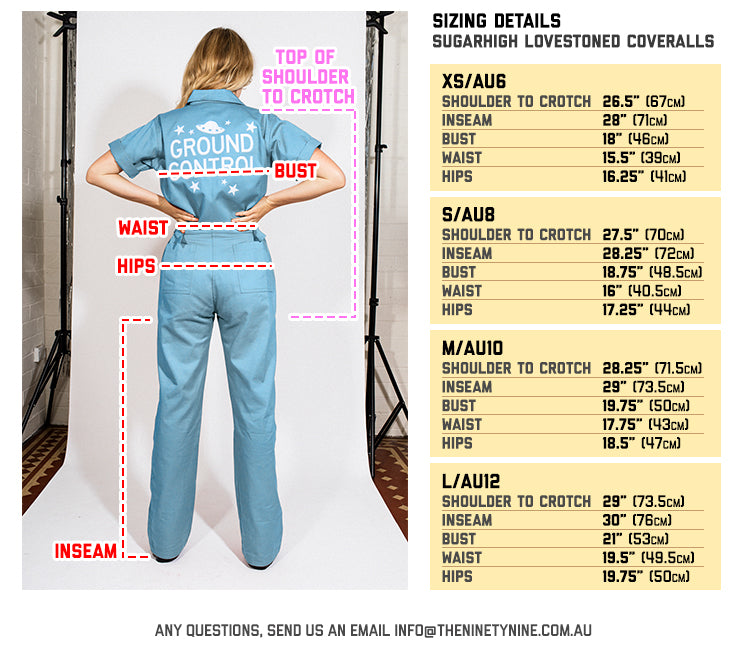 Sugarhigh Lovestoned Coveralls Sizing