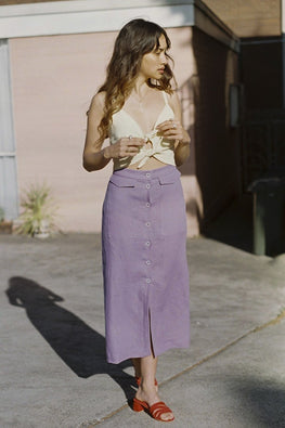 SISTER 'Brigitte' Linen Pencil Skirt – Purple - THENINETYNINE