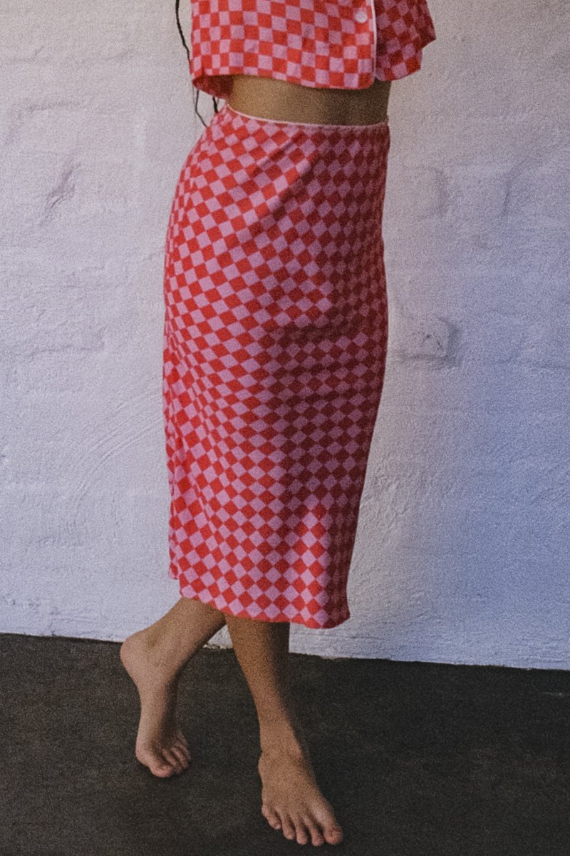 SISTER Checkerboard Bias Slip Skirt – Pink and Hot Pink