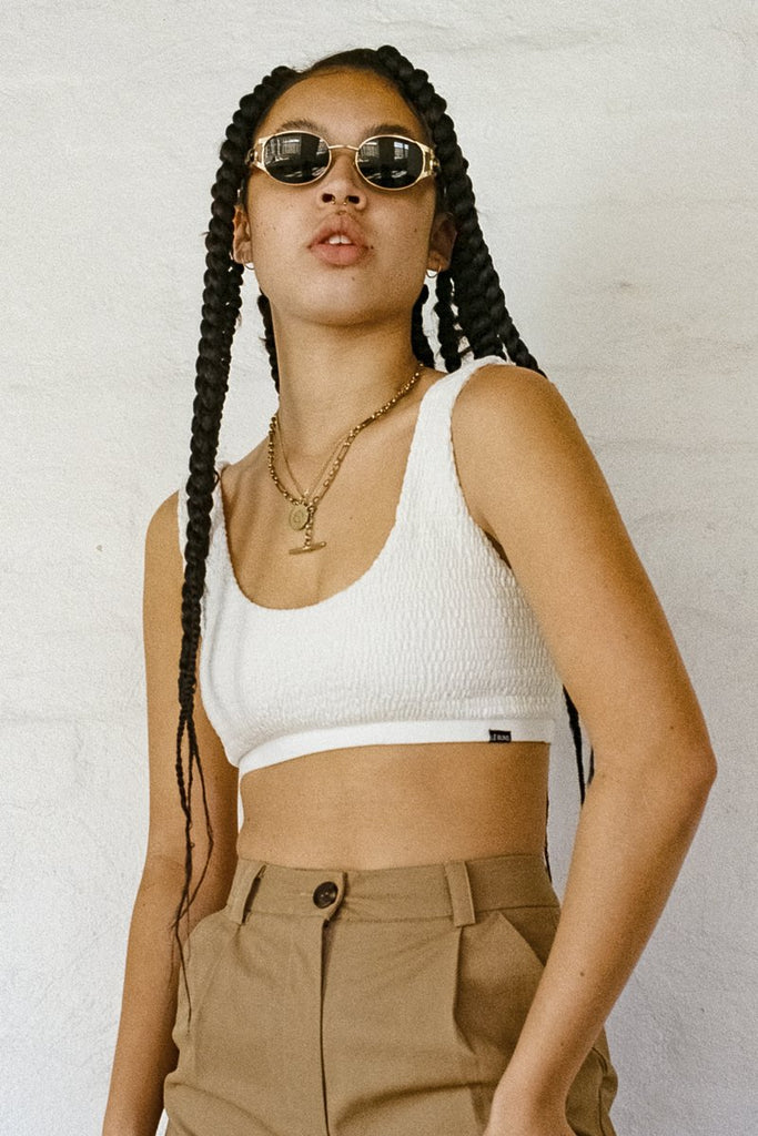 LÉ BUNS 'Quinn' Organic Cotton Crop Top – Ivory | THENINETYNINE Online Store