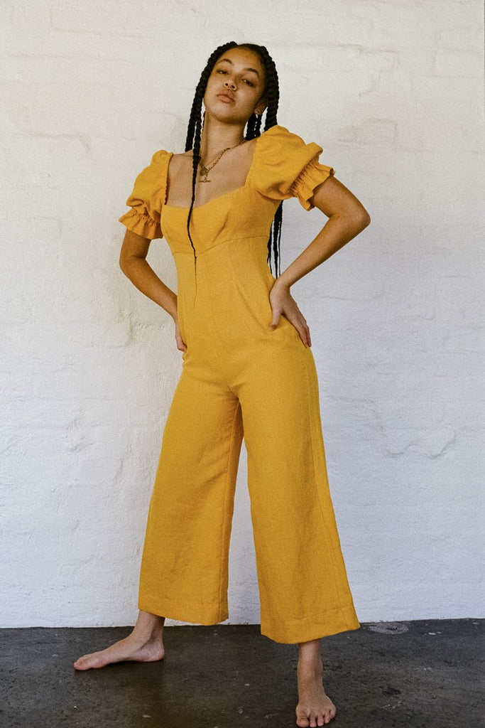 SISTER 'Ruby' Linen Jumpsuit – Yellow | THENINETYNINE Online Store
