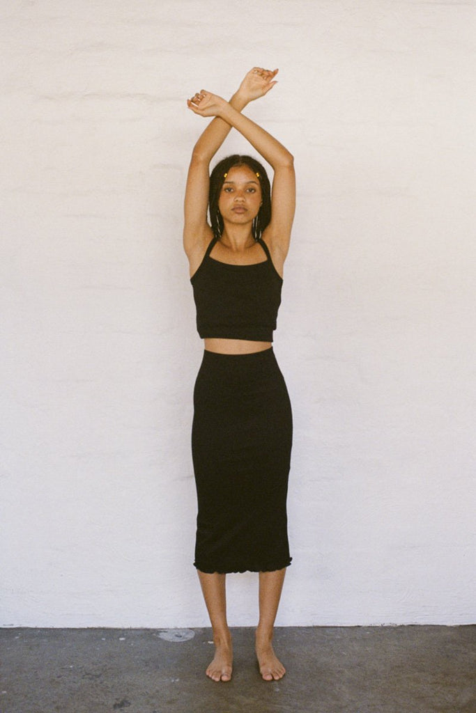 PERMANENT VACATION 'Thank You Kindly' Skirt – Black Cotton Rib | THENINETYNINE Online Store