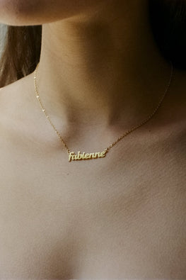 Custom Nameplate Necklace – 18ct Gold Plated or 925 Sterling Silver in Psyche Font - THENINETYNINE