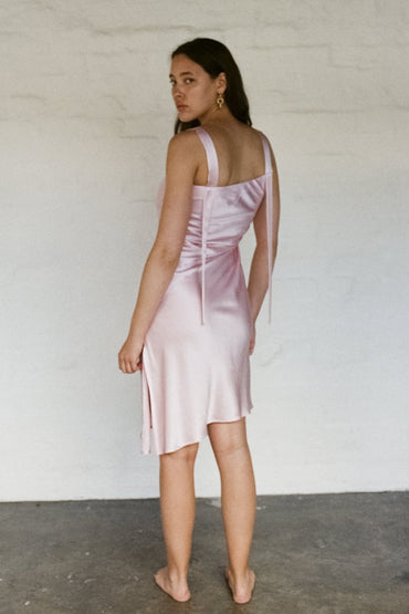 PERMANENT VACATION 'Utopia' Silk Dress – Baby Pink - THENINETYNINE