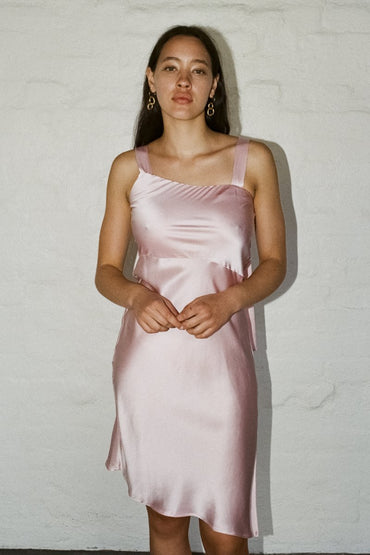 PERMANENT VACATION 'Utopia' Silk Dress – Baby Pink | THENINETYNINE Online Store