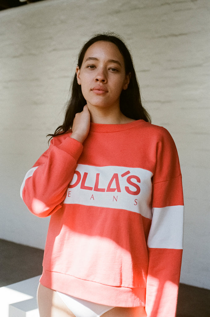 ROLLA'S Logo Split Sweatshirt – Faded Red | THENINETYNINE Online Store